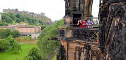 People looking across to edinburgh Castle from the Scott Monument