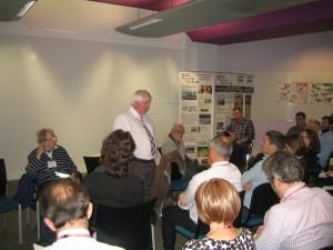 A panellist giving a talk